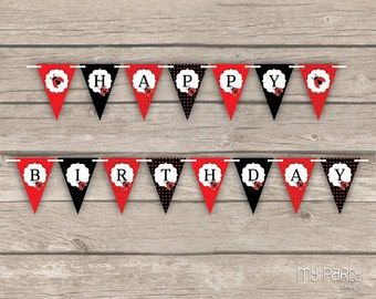 Ladybug Party - Happy Birthday Banner - INSTANT DOWNLOAD - Printable PDF