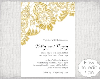 Diy wedding invite etsy wedding invitation instant download template diy gold antique lace wedding invitations printable invites stopboris Image collections