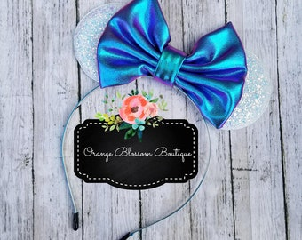 White and Blue Purple Iridescent Mouse Ears