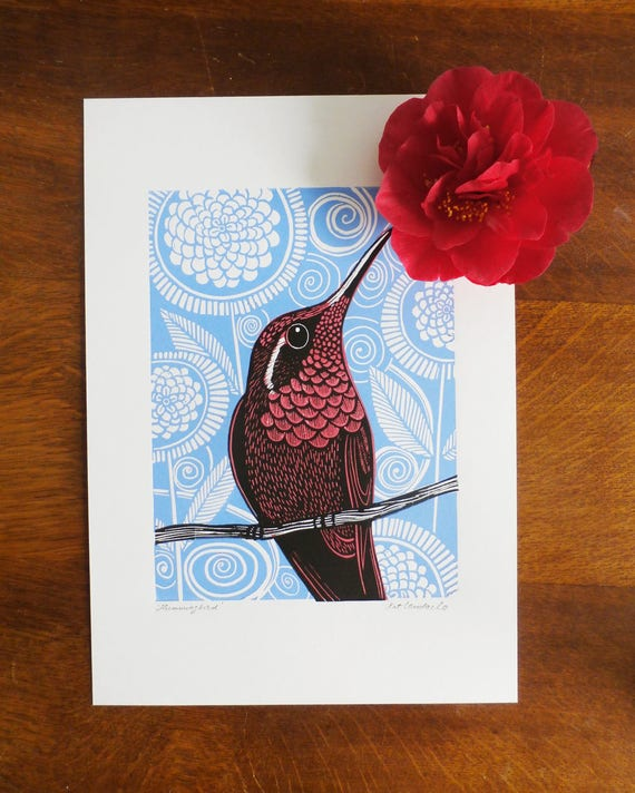 Hummingbird, pink, Original Linocut Print, Signed Open Edition, Free Postage in UK, Hand Pulled, Printmaking,