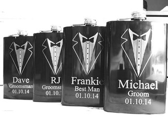 Set of 6 Engraved Flasks/Personalized Groomsmen Gift/Groomsman/Black Engraved Flasks 8oz. Hip Flask/Bridal Party Gifts/Best Man Gift