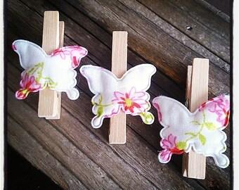 set of 3 clothespins wooden butterflies