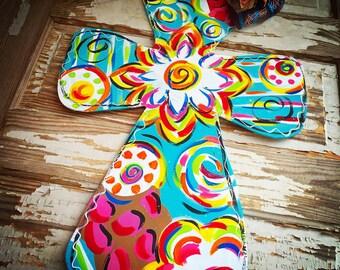 Cross Door Hanger - Personalized Door Hanger - Spring Door Hanger - Cross Door Decor - Cross Wreath - Spring Decor - Summer
