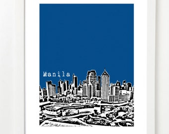 Manila Philippines  - Manila City Skyline Art Print - Manila Travel Art