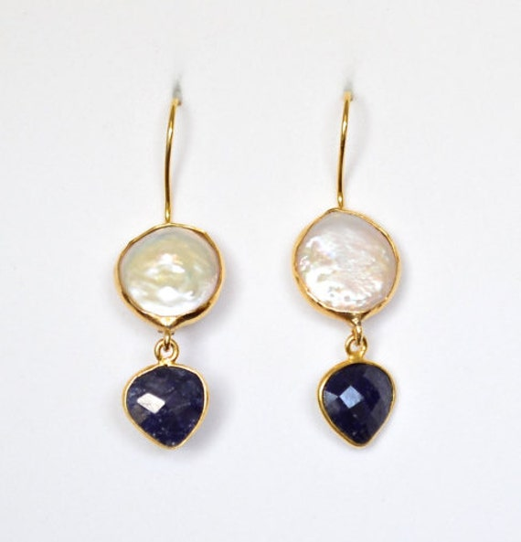 Pearl and Sapphire Earrings, gold/sterling silver, gold plated ,43mm overall size