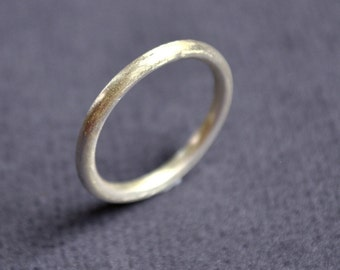 Women's Matte 2mm Round Sterling Silver Wedding Band. Handmade. Custom Size. Wedding Ring.