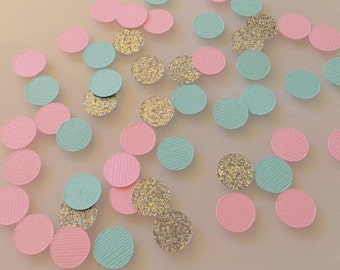 Mint Pink and Gold Circle Confetti ~ table decor ~ party decor