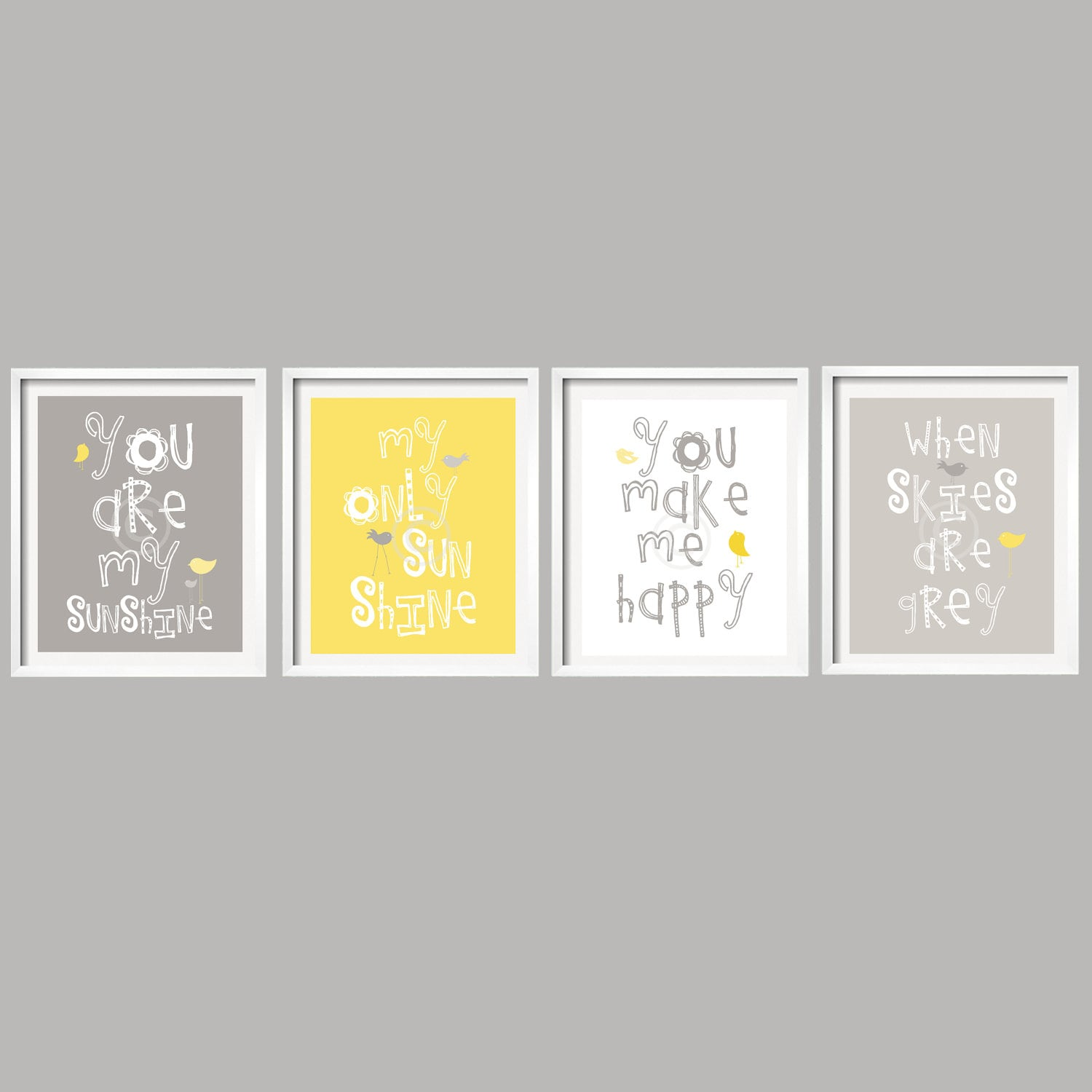 Yellow white and gray wall decor