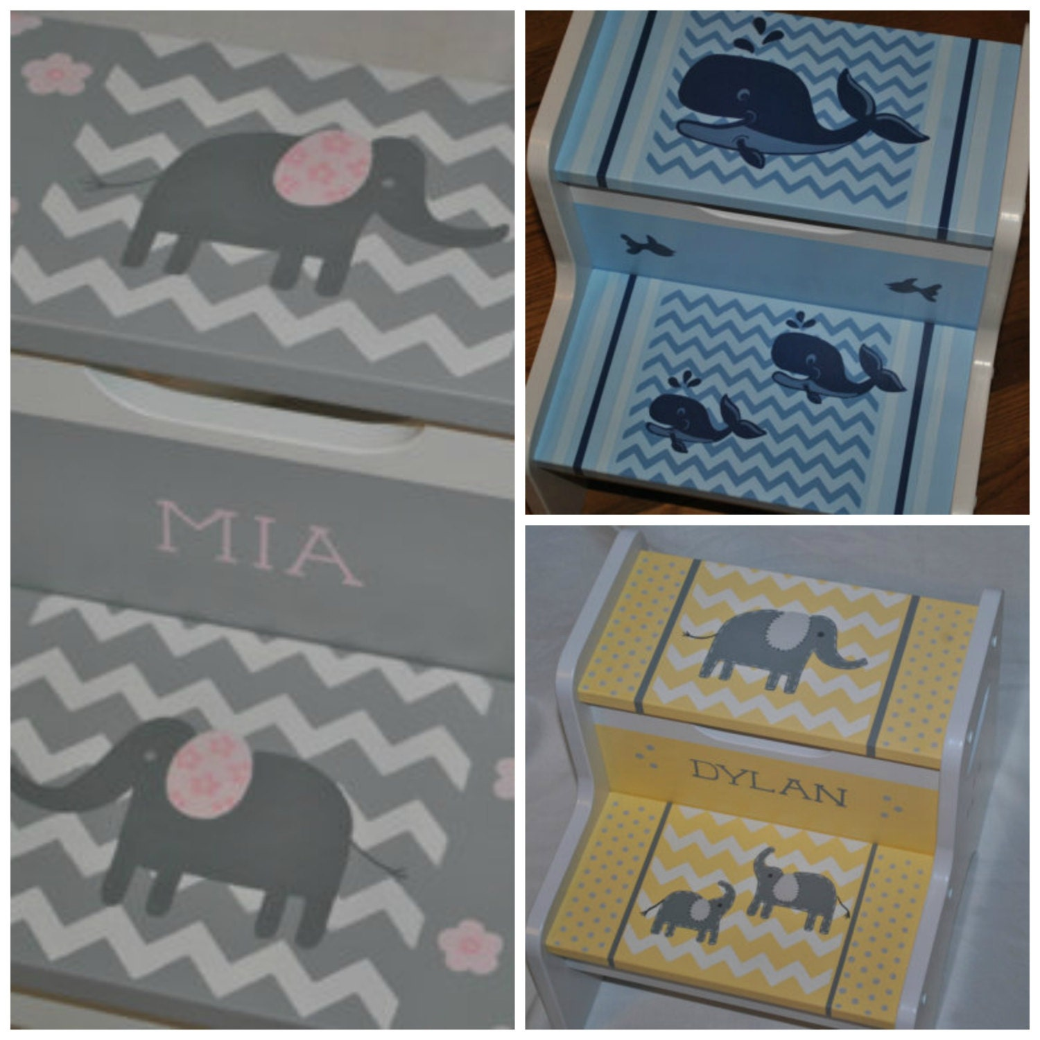 Kids Personalized 2 Step Stool Chevron Floral Elephants Pink