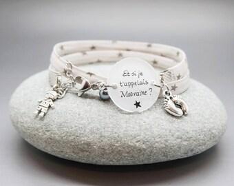 """bracelet liberty cabochon """"Et si je t'appelais Marraine"""" petit garçon bébé personnalisable"""