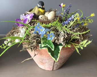 Spring arrangement,  Easter flower arrangement, natural arrangement, Easter egg arrangement, nest with bird arrangement.
