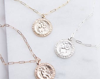 Saint Christopher Round Necklace, Traveling Saint Necklace, Dainty Layering Necklace, Silver, Gold or Rose Gold Charm Religious Necklace