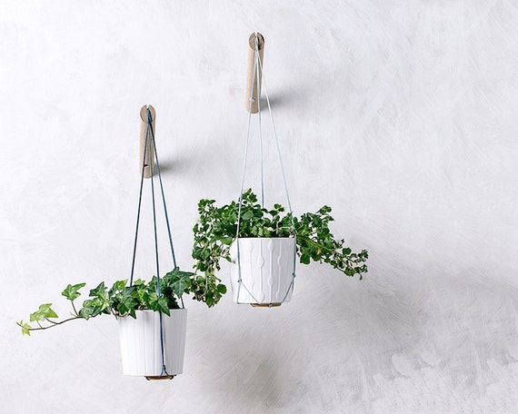 Hanging Planter With Light Blue Thread Wall Planter Indoor