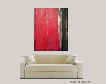 Original Abstract Canvas Art Modern House Home Red Black Gold Texture Contemporary Masculine Decor Made To Order