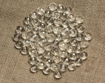 10pc - stone beads - Crystal Quartz faceted balls 6mm 4558550020093
