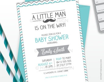Little Man Baby Shower Invitation - Mustache Party Invitation - Turquoise Grey - PRINTABLE JPEG or PDF file