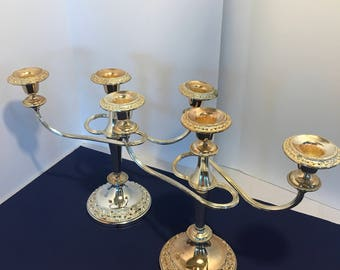 Vintage Pair of Silver Plated Triple Candelabra Freestanding Table Decor Wedding Decor  Set of 2 Candleholders French Country Tea Party