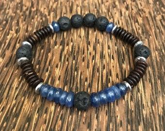 Unique Natural Lava Bracelet with Blue Kyanite, Hematite & Coconut - Essential Oil Diffuser Bracelet