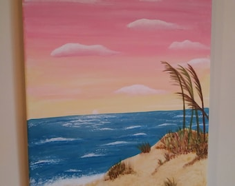 Original Beach Painting Sunset, Acrylic on Canvas