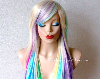 Rainbow wig. Blonde hair rainbow ombre wig. Pastel Pink Lavender Lilac Purple Lime green Grass green Yellow Sky blue Turquoise midnight blue