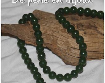 5pc - agate 10 mm dark green Pearl bead sprout green semi precious