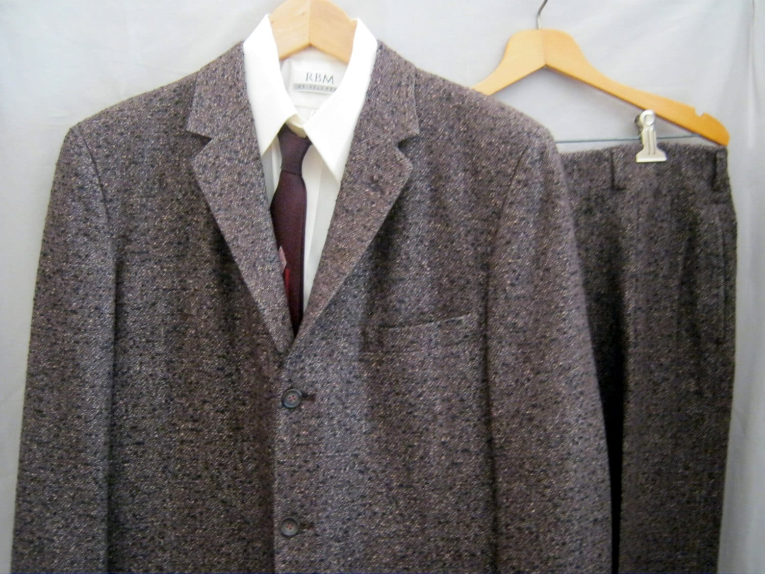 41 Vintage 50s Warren Sewell Black Tweed Suit 3 Button Narrow Lapel Cuffed Pants W 34 L 30 Drop Belt Loops SB4Z7gahl
