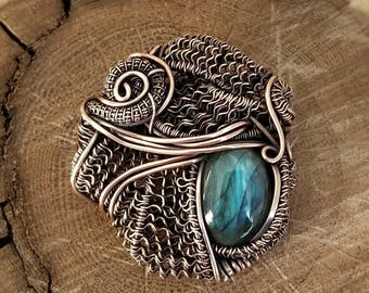 Copper with blue labradorite