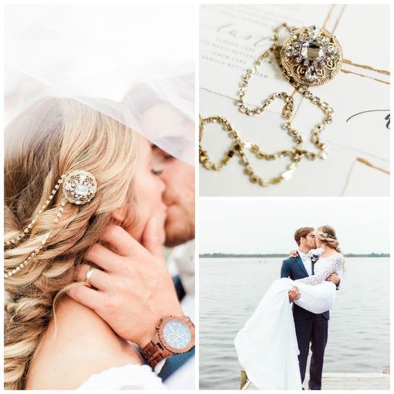 Bridal Headpiece, Head Chain, Bridal Hair Chain, Rhinestone Head Chain, Art Deco Bridal Headpiece, Gold Hair Clips, Art Deco Wedding MORGAN
