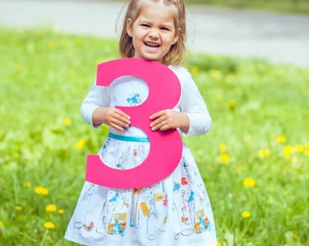3 Sign Photo Prop for Third Birthday Photo Shoot for Kids - Wooden Number 3 Sign Photographer, Number Three Sign