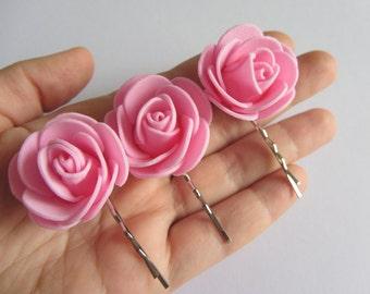 Pink Bobby Pin Set, Flower Hairpins, Pink Flower Bobby Pins, Wedding Hair Accessory, Bridesmaid Gift, Pink Hair Flowers Hair Pins Pink girl