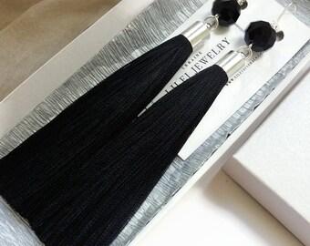 Black tassel earrings Long silk tassel earrings black Minimalist earrings Tassel jewelry Gift for women