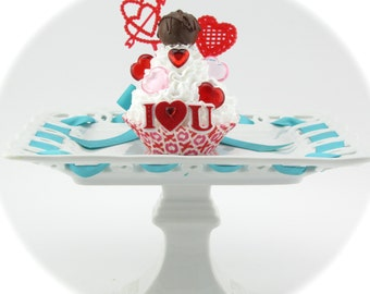 Fake Cupcake with Faux Bon Bon. I Love You with Hearts! Fab Valentine's Day Gift for Her. Chocolate Lover's Gift.
