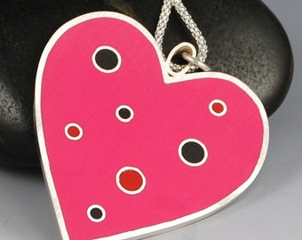 Heart Pendant-  Hot Pink Polka Dot Resin and Sterling Silver, Handmade