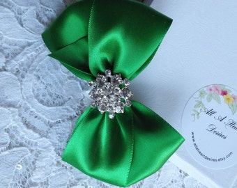 Emerald Green Satin Hair Bow, Rhinestone Center, Emerald Green Flower Girl Hair Bow, Hair Bow, Pageant Hair Bow, Christmas Hair Bows