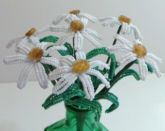 French Beaded Flowers Beaded Daisies with Czech Glass Stamen in Green Vase