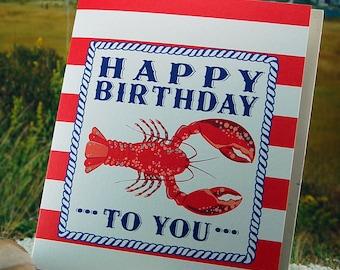 Lobster Birthday Card - blank inside - single, folded greeting