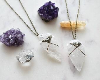 Sabrina Crushed Pyrite Quartz Arrowhead Necklace