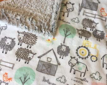 Farm Animal Blanket, Minky. Pigs. Cows. Chickens. Sheep. Tractors. Barn. Baby shower gift, baby boy gift, security blanket