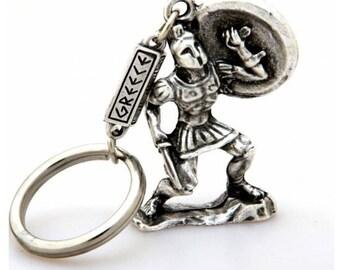 Spartan Keyring Leonidas Ancient Greek Themed Key Chain - Leonidas The Spartan 300 Silver Zamac