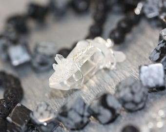 Snowflake Obsidian - Quartz - crystal necklace