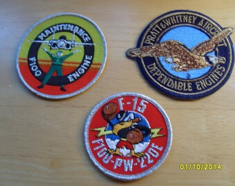 Military Patches, Pratt and Whitney Fabric Patches, Aerospace, Aircraft Engines  (3 patches)