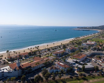 Panoramic photo of Santa Barbara taken from Aerial Drone