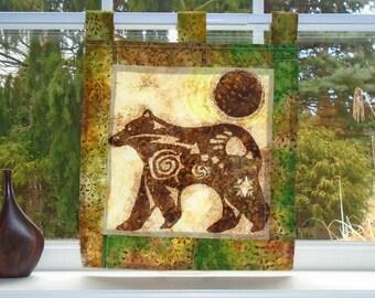 Animal Spirit ~ Bleached Art Stained Glass-Look Batik Pojagi Patchwork Window Treatment ~ cabin curtain ~ bohemian cafe ~ fiber art curtain