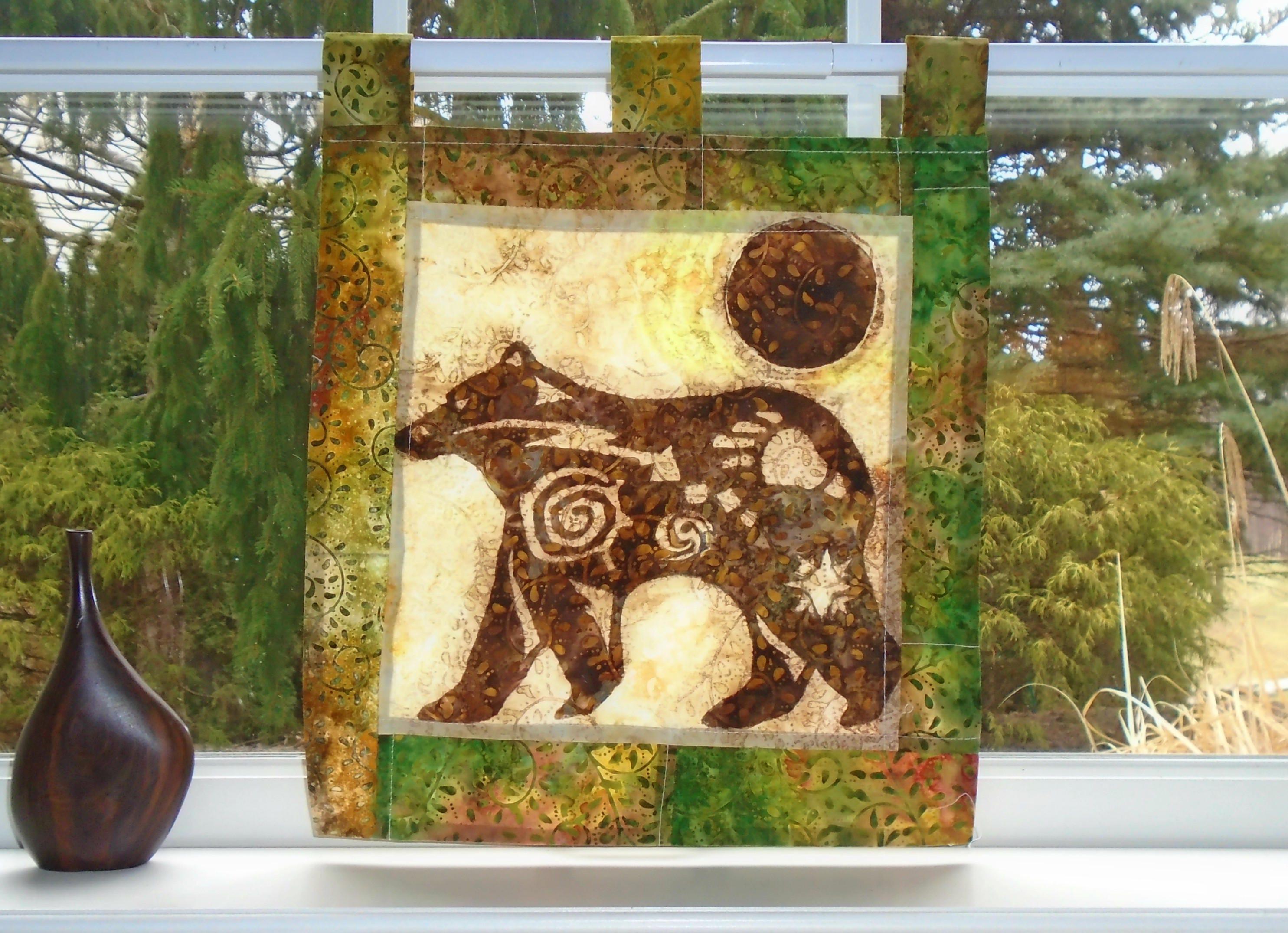 SALE Spirit Animal Cabin Decor Bear Curtain Batik