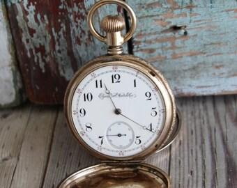 Antique Elgin Pocket Watch - Hunter Case - Vintage Elgin Pocket Watch - Old Elgin Watch - by avintageobsession on etsy - FREE USA Shipping