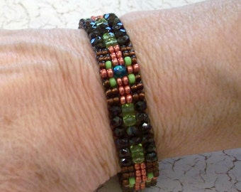 Brown, Copper, Lime, and Turquoise Southwest or Boho Bracelet by Carol Wilson of Je t'adorn