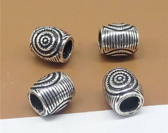 2 Sterling Silver Circles Imprint Large Hole Beads for European Bracelet - TZ001