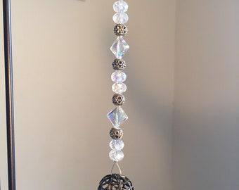 Bronze Hot Air Balloon Suncatcher with glass beads