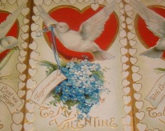 3 Vintage Valentine, Floral, Dove Postcards