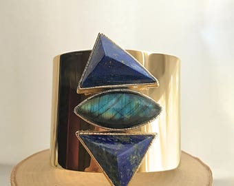 Pyramid Cuff Bracelet // Labradorite Lapis Cuff Bracelet // Labradorite Cuff // Lapis Cuff